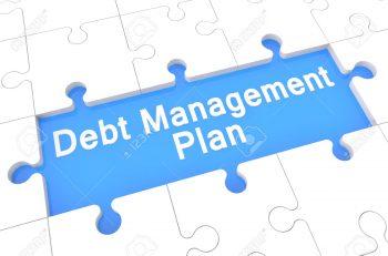 Debt Management Plan - Puzzle 3d Render Illustration With Word On Blue Background